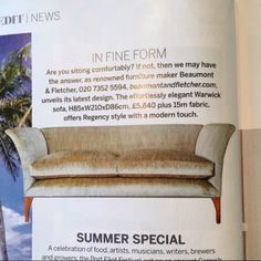 'In Fine Form'. The Warwick sofa featuring in this months Homes & Gardens magazine. Bespoke Furniture, Handmade Furniture, Luxury Furniture, Crafts Beautiful, Soft Furnishings, Gardens, Sofa, Homes, Magazine