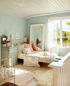 Girls Eggshell Duck Egg Blue Grey Bedroom Floral
