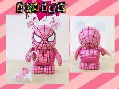 """Admyer- Pink Spiderman on a 3"""" vinylmation."""