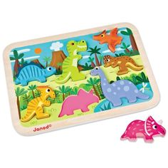 Seven friendly dinos roam the land in our Dinosaur Chunky Puzzle. Each chunky wooden dinosaur fits neatly into color coded cut-outs on the wooden base. 18 mos & up. $16