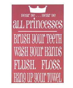 Take a look at this Pink & White 'Princesses' Bathroom Rules Wall Art by Vinyl Crafts on #zulily today!