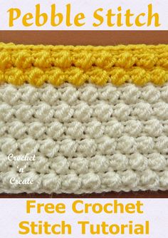 Pebble Stitch Crochet Tutorial Pebble Stitch Crochet Tutorial - Like the name suggests this stitch has a small bobbly effect that looks like pebbles, a sweet fun design that has a visual textured look and is worked over an easy 4 row repeat. Crochet Stitches For Blankets, Crochet Stitches Free, Crochet Gratis, Crochet Blanket Patterns, Free Crochet, Crochet Waffle Stitch, Crochet Instructions, Tutorial Crochet, Crochet Tutorials