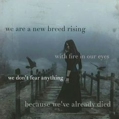 We are a new breed rising with fire in our eyes. We don't fear anything because we've already died. - redinkbooks