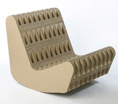 Pool rocker Seating: Chair by Giles Miller: Inspired by Willy Guhl's 'Loop' chair, the Pool Rocker makes a strong statement about the aesthetics and structural integrity of cardboard. Cardboard Chair, Cardboard Cartons, Cardboard Paper, Cardboard Furniture, Cardboard Crafts, Recycled Furniture, Cardboard Playhouse, Chalk Paint Desk, Chair Design