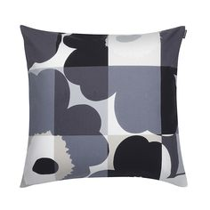Buy Marimekko Ruutu-Unikko Cushion Cover - 50x50cm - Black/Grey | Amara