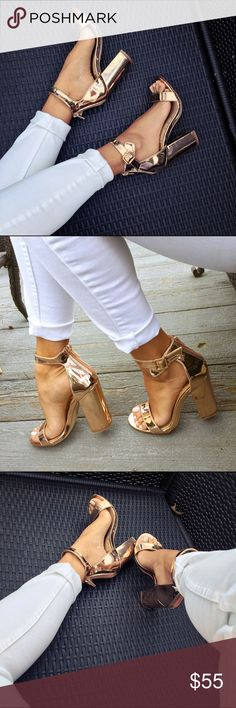 Rose gold metallic chunky heels Worn once for my engagement photos, super cute! Love the chunky heel, very easy to walk in. Price firm. Boutique brand Shoes Heels