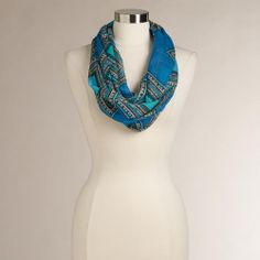 One of my favorite discoveries at WorldMarket.com: Blue and Turquoise Graphic Infinity Scarf