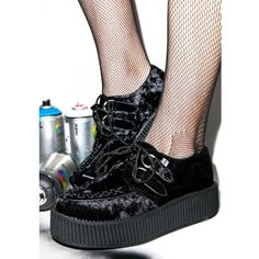 T.U.K. Crushed Velvet Mondo Creepers ($66) ❤ liked on Polyvore featuring shoes, creeper shoes, punk platform shoes, mid heel platform shoes, t.u.k. and punk shoes
