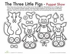 for Kids & Free Printables The Three Little Pigs Finger Puppets. Builds literacy skills, good for retellingThe Three Little Pigs Finger Puppets. Builds literacy skills, good for retelling Fairy Tale Crafts, Fairy Tale Theme, Fairy Tales Unit, Fairy Tales For Kids, Pig Crafts, Traditional Tales, Three Little Pigs, Finger Puppets, Stop Motion