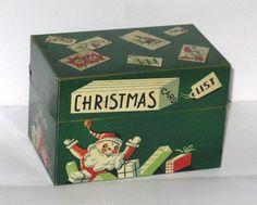 Vintage 1950s 1960s Christmas Card List Box Tin Litho Santa Claus | eBay