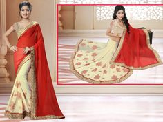 http://www.thatsend.com/shopping/lp/fvp/TESG235368/i/TE306468/iu/red-georgette-traditional-saree  Red Georgette Traditional Saree Apparel Pattern Plain. Work Resham, Zari, Border Lace. Blouse Piece Yes. Occasion Festive, Diwali. Top Color Beige.