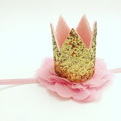 Mini Gold Sparkle Crown Headband Pink and by JuliaGraceBoutique