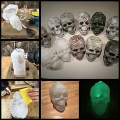 DIY Halloween mini skulls. Melted 3L milk bottle using a heat gun, pressing with a wet sponge over an empty vodka bottle. Tried various techniques such as dry brushing acrylic paint over spray painted base. Takes about 1/2 hr to complete each one. Left one unpainted and put a glow stick inside. Lightweight and waterproof so can be used outside. See pennywise753 for tutorial on technique.