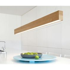 up down fluro for the kitchen - custom build casing out of tas oak board     LEDlux Nord LED Up/Down Pendant in Teak: