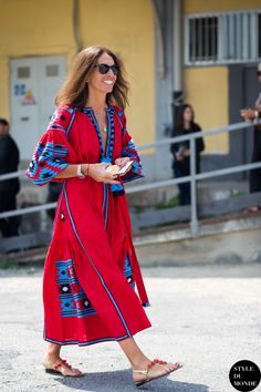 red and blue caftan