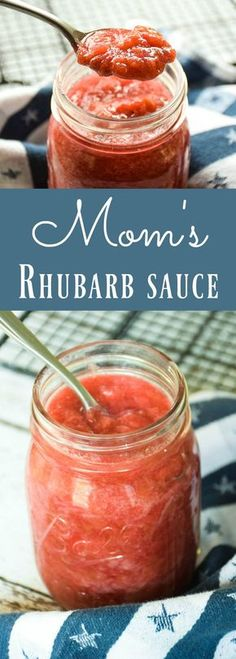 Sweet and tangy, Mom's Rhubarb Sauce Recipe is perfect for topping buttered toast or served over top of ice cream. It is also great in pastries and muffins (or on a muffin! Mom used to make Rhubarb Sauce often when I was growing up. Rhubarb was always p Fruit Recipes, Sauce Recipes, Dessert Recipes, Ruhbarb Recipes, Rhubarb Desserts, Rhubarb Canning Recipes, Rhubarb Recipes No Sugar, Rhubarb Ideas, Sauce Au Poivre