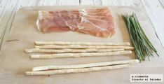 Flores jamón serrano Asparagus, Cocktails, Gluten, Vegetables, Bacon, Cooking, Cold Cuts, Cheese Straws, Cocktail