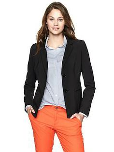 Classic two-button blazer | Gap with boyfriend jeans and black loafers