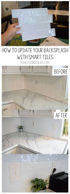 In this project I transformed the dated, off-white tiles in my backsplash to more modern, bright-whi Kitchen Without Backsplash, Remove Tile Backsplash, Easy Backsplash, Tile Countertops, Kitchen Tiles, Home Improvement Projects, Home Projects, Rental Decorating, Style Tile