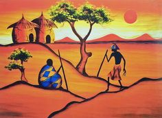 Two Huts, Two Trees and Two Men
