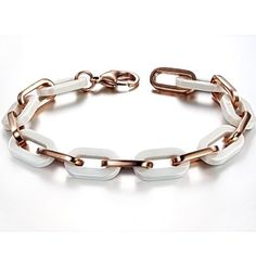 Opk Jewellery Fashion Women's Tennis Bracelets High Quality White Ceramic And Rose Gold Plated Stainless Steel Hook-ups Link Chains Wristband Classic Gift 8.27 Inch Length 10mm Width 25g Weight