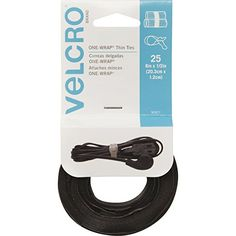 Amazon.com: VELCRO Brand One Wrap Thin Ties, Black, 8 x 1/2-Inch, 100 Count (91140): Office Products