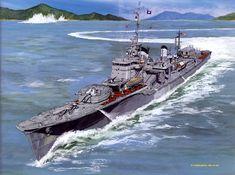 IJN Yugumo - Cacciatorpediniere classe Matsu - Dislocamento standard: t a… Military Diorama, Military Art, Croiseur Lourd, Navy Coast Guard, Imperial Japanese Navy, Us Navy Ships, Naval History, Ship Art, Model Ships