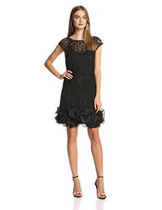 Jessica Simpson Womens Short Sleeve Lace Ruffle Hem Dress Black 12 *** You can get additional details at the image link. (Note:Amazon affiliate link)