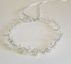 ON SALE Silver Bridal CrownCrystals TiaraPearls by CyShell on Etsy