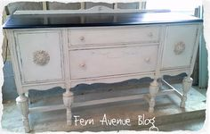 Fern Avenue: Antique White and Smokey Slate Side Buffet Table
