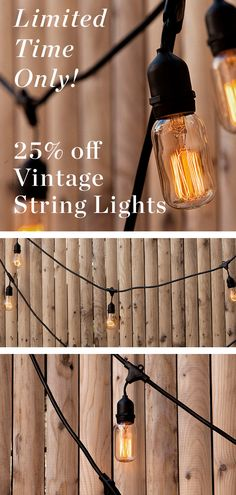 Our durable socket stringer prominently features 10 Edison-style bulbs from our Brooklyn Bulb Collection, evoking warm, vintage charm Vintage String Lights, Vintage Lighting, Cafe Style, Back Patio, Vintage Inspired, Light Bulb, How To Memorize Things, Glow, Bulbs
