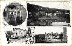 Ansichtskarte / Postkarte Frauensee Wartburgkreis, Gasthaus Buchonia, Schloss, Frau in Trachten #Werratal