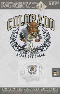 Alpha Chi Omega Colorado mascot sweatshirt! #BUonYOU #greek #greektshirts #greekshirts #sorority #AlphaChiOmega #sweatshirt Alpha Chi Omega, Alpha Phi, Phi Mu, Fraternity Shirts, Greek Shirts, Basketball Shirts, Greek Clothing, Tee Design, School Design