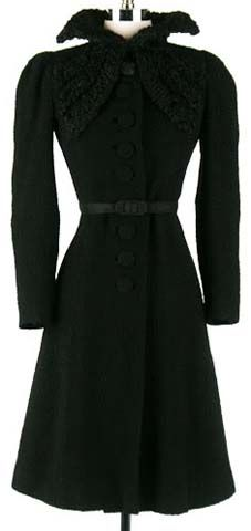 Black wool coat with curly lamb details, from Jordon Co., 1940s.