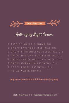 Use 2 or 3 drops of this anti-aging blend over the face and neck after cleansing at bedtime, then apply moisturizer. This blend of essential oils will help smooth fine lines and wrinkles, soften skin, and remove dark spots. You may use your favorite carrier oil that is skin friendly (light and absorbs easily). I used fractionated coconut oil.