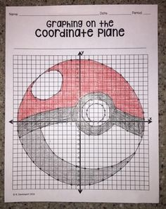Poke Ball (Graphing on the Coordinate Plane/ Mystery Picture) Graphing Worksheets, Early Finishers, Graph Paper, Math Classroom, Math Games, Teaching Ideas, Plane, Mystery, Pokemon