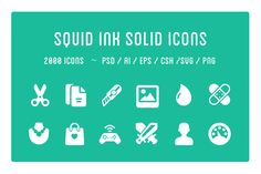 Squid Ink Solid Icon Pack by Web Icon Set on @creativemarket