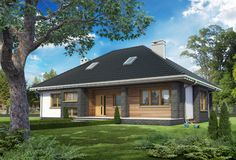 Projekt domu Regina Ultra - dom parterowy o nowoczesnych detalach, pokryty dachem wielospadowym