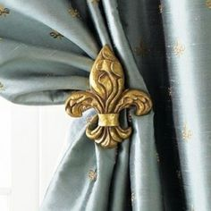 Fleur de lis tieback - used mine for Scraf-type drapes. Houzz, Classic Decor, Traditional Window Treatments, Passementerie, Duck Egg Blue, French Blue, French Style, Wall Mounted Tv, French Country Decorating