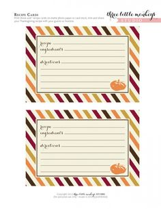 FREE THaNKSGiViNG PRiNTaBLe ReCiPE CaRDS