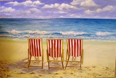 3 Chairs on a Beach Original Artwork oil painting on gallery wrapped canvas Ask… Original Paintings For Sale, Original Artwork, Wine And Paint Night, Beach Themed Art, Seaside Theme, Beach Artwork, Painting Inspiration, Landscape Paintings, Canvas Wall Art