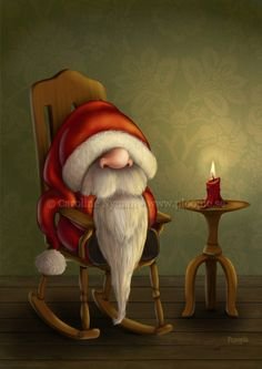 Little Santa in a rocking chair © Caroline Nyman • www.ploopie.se