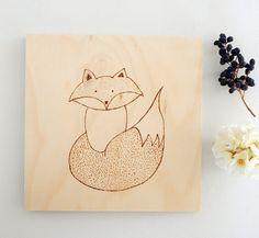 Fox art. Fox original drawing. Woodland nursery fox. Modern nursery art. Fox pyrography art. Wood burning animal art. by DecorAsylum on Etsy