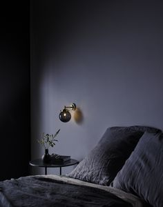 Expanding on their Globe Pendant range, this new Mini Globe Wall Light integrates the same Art Deco cues within its metal fixtures and features a compact glass globe, hand blown in their UK glassworks. Glass Wall Lights, Bathroom Wall Lights, Bedroom Lighting, Bedroom Decor, Bedroom Ideas, Bedroom Interiors, Cozy Bedroom, White Bedroom, Bedroom Inspiration