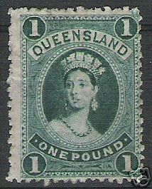 1883 Queensland £1 green won on eBay Dec 06 Federation Of Australia, Queen Vic, One Pound, First Day Covers, Vintage Stamps, Roman Numerals, Coins, Kiwi, Collections
