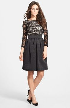 Free shipping and returns on Eliza J Mixed Media Fit & Flare Dress at Nordstrom.com. Scrolling lace runs through the bateau-neck bodice of a crisp woven-faille dress.