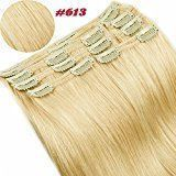 """US Double Wefts 140g 18"""" Bleach Blonde Straight Real Natural Full Head Set Clip in 100% Remy Human Hair Extensions Top Grade 7A For Woman Beauty 8Piece 18Clips"""