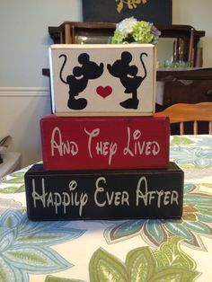 Mickey Minnie Mouse kissing wedding and they lived happily ever after engagement centerpiece primitive distressed rustic stacking blocks by AppleJackDesign on Etsy