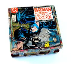Vintage Batman comic book collage cigar box  #batman #darkknight #dc #cigar #comics