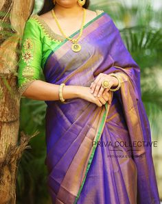 PV 3475 : Violet Tissue SariPrice : tissue sari finished with gold zari and green palluUnstitched blouse piece - Green running blouse piece / Pink maggam work blouse piece as shown in the picture is available at additional priceFor Order 13 September 2017 Indian Silk Sarees, Indian Blouse, Uppada Pattu Sarees, Silk Saree Blouse Designs, Linen Blouse, Blouse Patterns, Elegant Saree, Silk Sarees Online, Saree Dress